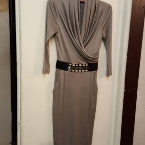 Catherine Maladrino silver silk dress